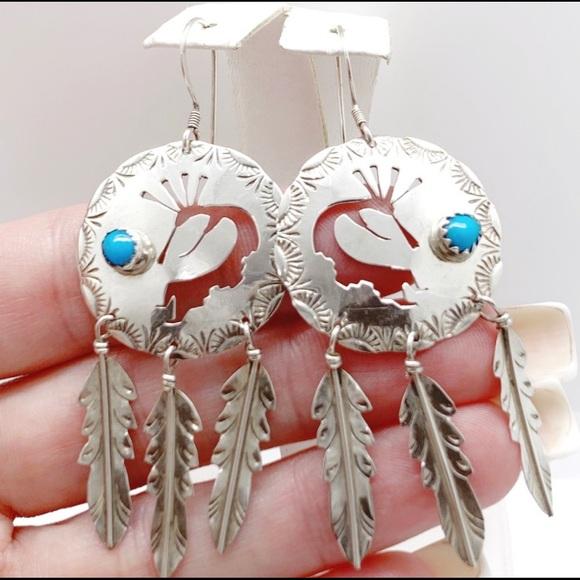 Vintage Jewelry - Vtg 925 Kokopelli Southwestern Turquoise Earrings